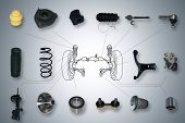 Many new Suspension and steering parts for a car poster