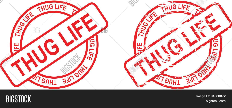 Thug life stamp sticker circle set