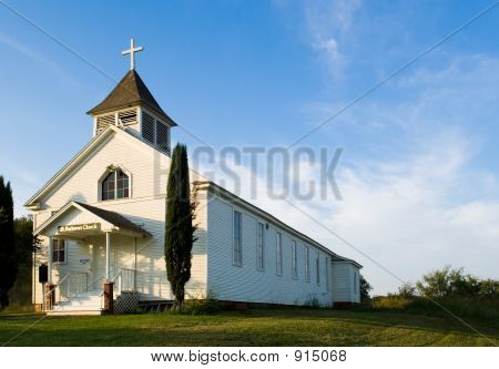 old american country church st. barbara's chruch - on the prairie near thurber texas poster