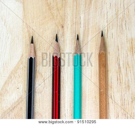 Wood Pencil On Wood Table Desk Background