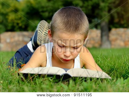 Kid Read The Book Outdoor