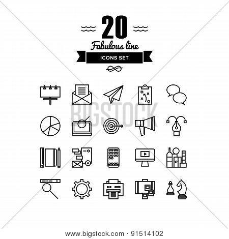 Business And Marketing Line Icons Set