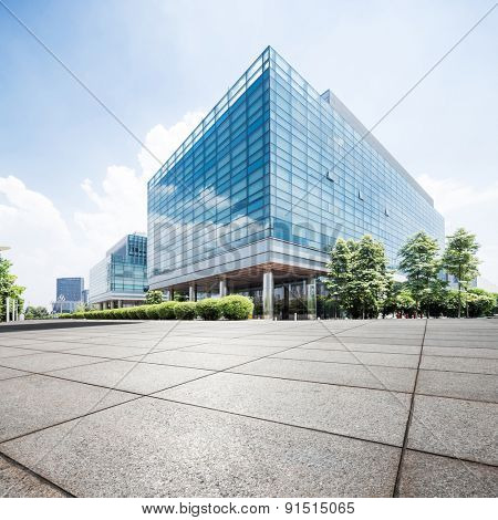 Chengdu,China-July 23,2014:Empty road at office building exterior in Chengdu.It's the epitome of  fast development of southwest china.