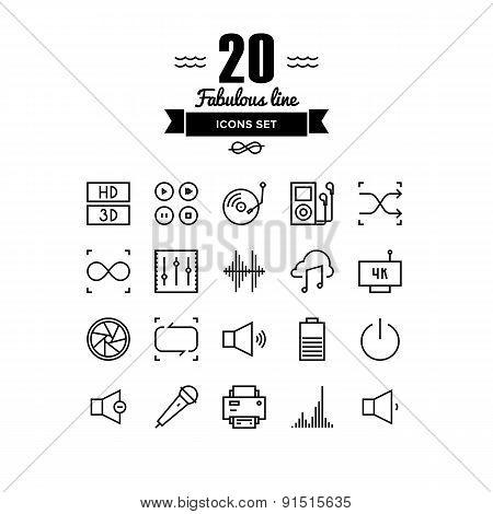 Multimedia Elements Line Icons Set