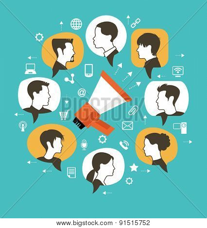 Marketing communication concept. Megaphone surrounded by speech bubbles with icons of people and interface icons