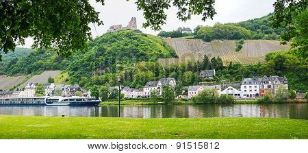 View To Moselle River With Passenger Liner, Ruin Landshut And Bernkastel Village