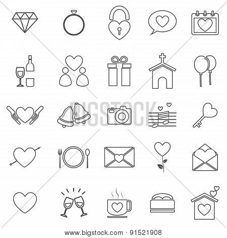 Wedding Line Icons On White Background