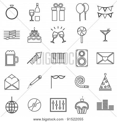 Celebration Line Icons On White Background