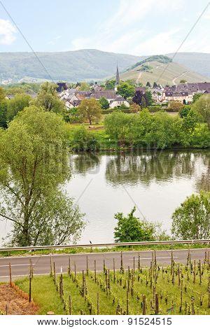Mosel River And Mülheim Village