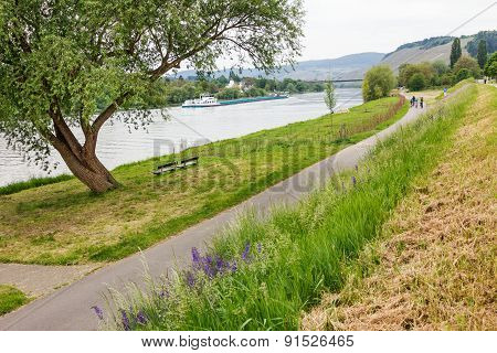 Bikeway At The Riverside Of Moselle River