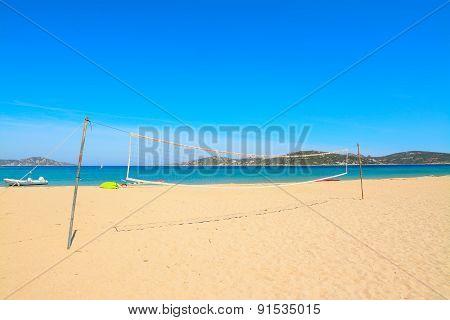 Beach Volley Net In Porto Pollo Beach