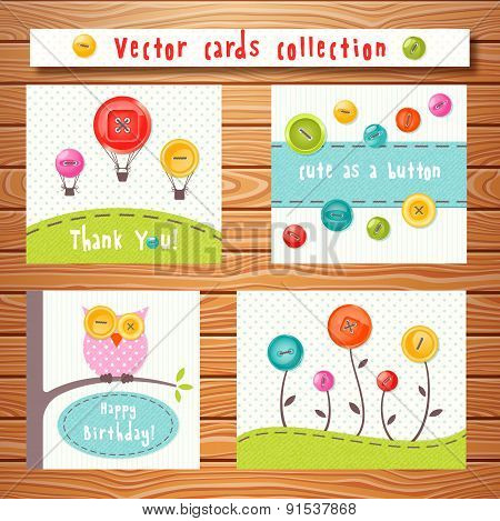 Vector cards collection with cute buttons. Perfect for baby shower, birthday and other events.