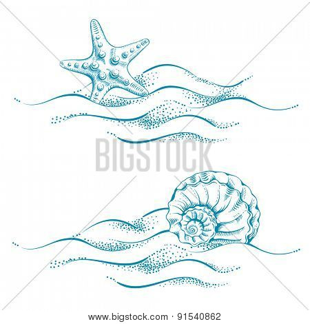 Summer sea background with sand, seashell and sea star. Vector. Drawn in technique etching.