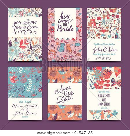 Sweet wedding romantic collection with 6 awesome cards made of hearts, flowers, couple of lovers, cats, wreaths, butterflies and birds. Lovely save the date invitation cards in vector. poster