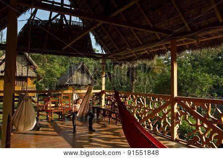 Ecological lodge in amazon rainforest, Yasuni National Park, Ecuador
