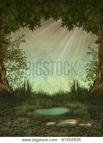 Fantasy landscape in the forest with a pond poster