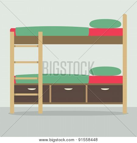 Side View Of Bunk Bed On Floor.