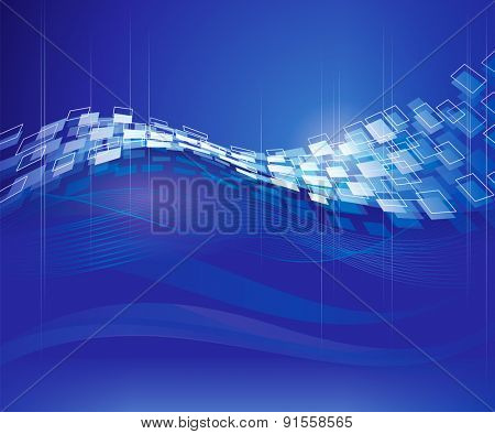 Abstract blue technical modern background.