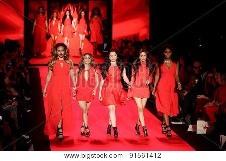 NEW YORK-FEB 12: Fifth Harmony wears BCBGeneration at Go Red for Women-The Heart Truth Red Dress Collection at Mercedes-Benz Fashion Week at Lincoln Center on February 12, 2015 in New York City.