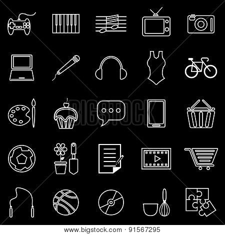 Hobby Line Icons On Black Background