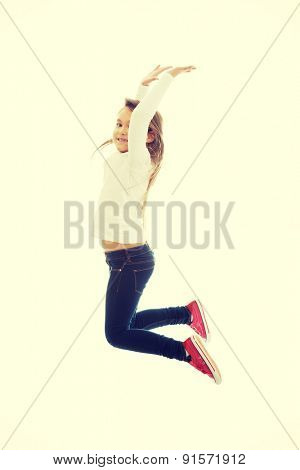 Little pretty girl jumping with joy poster