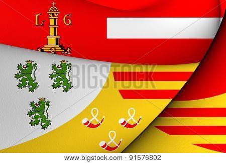 Flag Of Liege, Belgium.