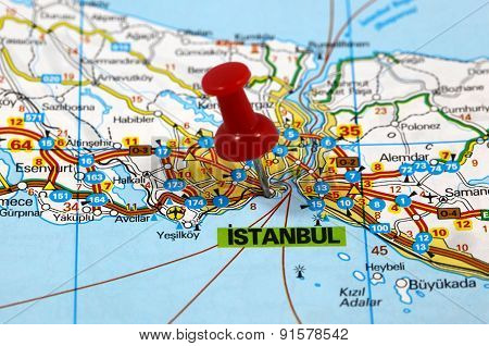 map with pin point of istanbul in turkey poster