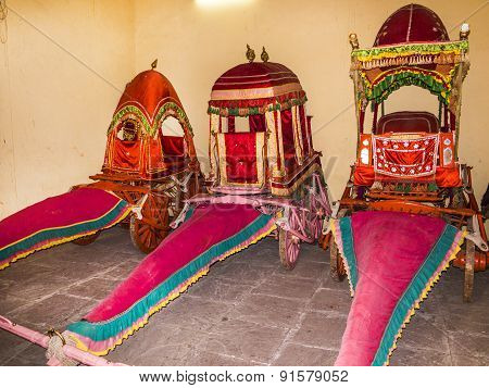 Collection Of Coaches In The City Palace In  Jaipur, India.