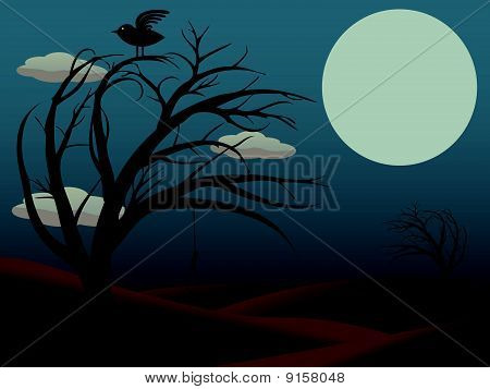 Gothic Bird Sits atop creepy curvy tree with empty noose dusky red full moon