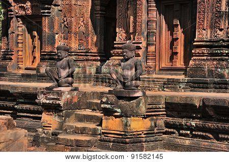 Statues In A Temple Banteay Srey