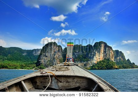 On A Long Tail Boat In Thailand