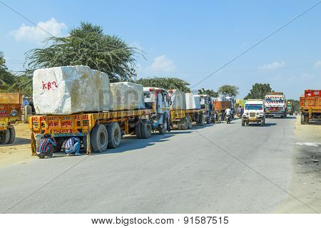 Lorry Transports Huge Marble Stones