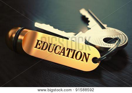 Education Concept. Keys with Golden Keyring.