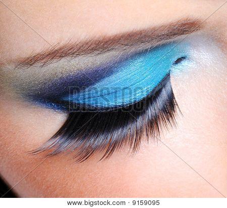 Fashion Make-up With Long False Eyelashes