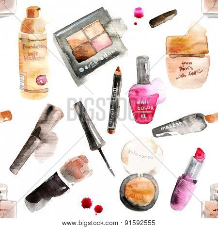 Glamorous make up watercolor cosmetics background
