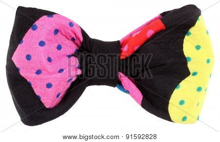 Hair bow tie black with colorful multicolor details