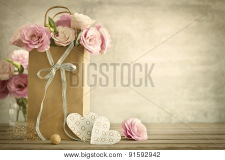 Wedding background with pink roses, bow and paper Hearts, vintage style