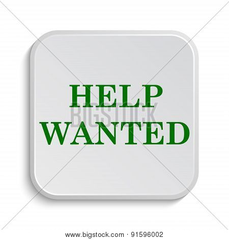 Help wanted icon. Internet button on white background. poster