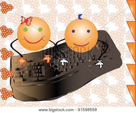 Vector Girl And Boy Smile Writing On A Computer Keyboard