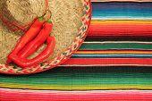 striped poncho serape sombrero chili fiesta background with copyspace poster