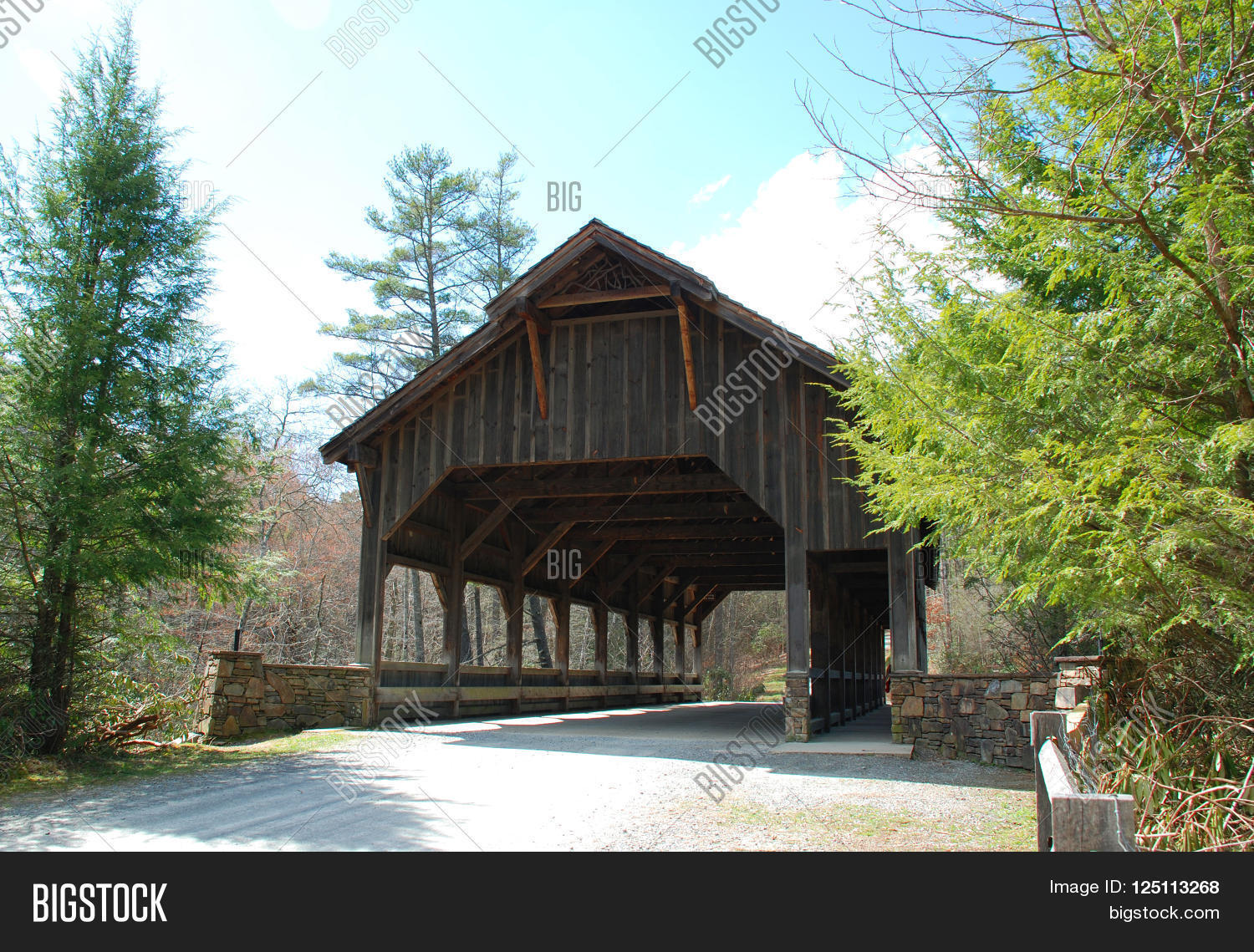 Covered Wooden Bridge Image Photo Free Trial Bigstock