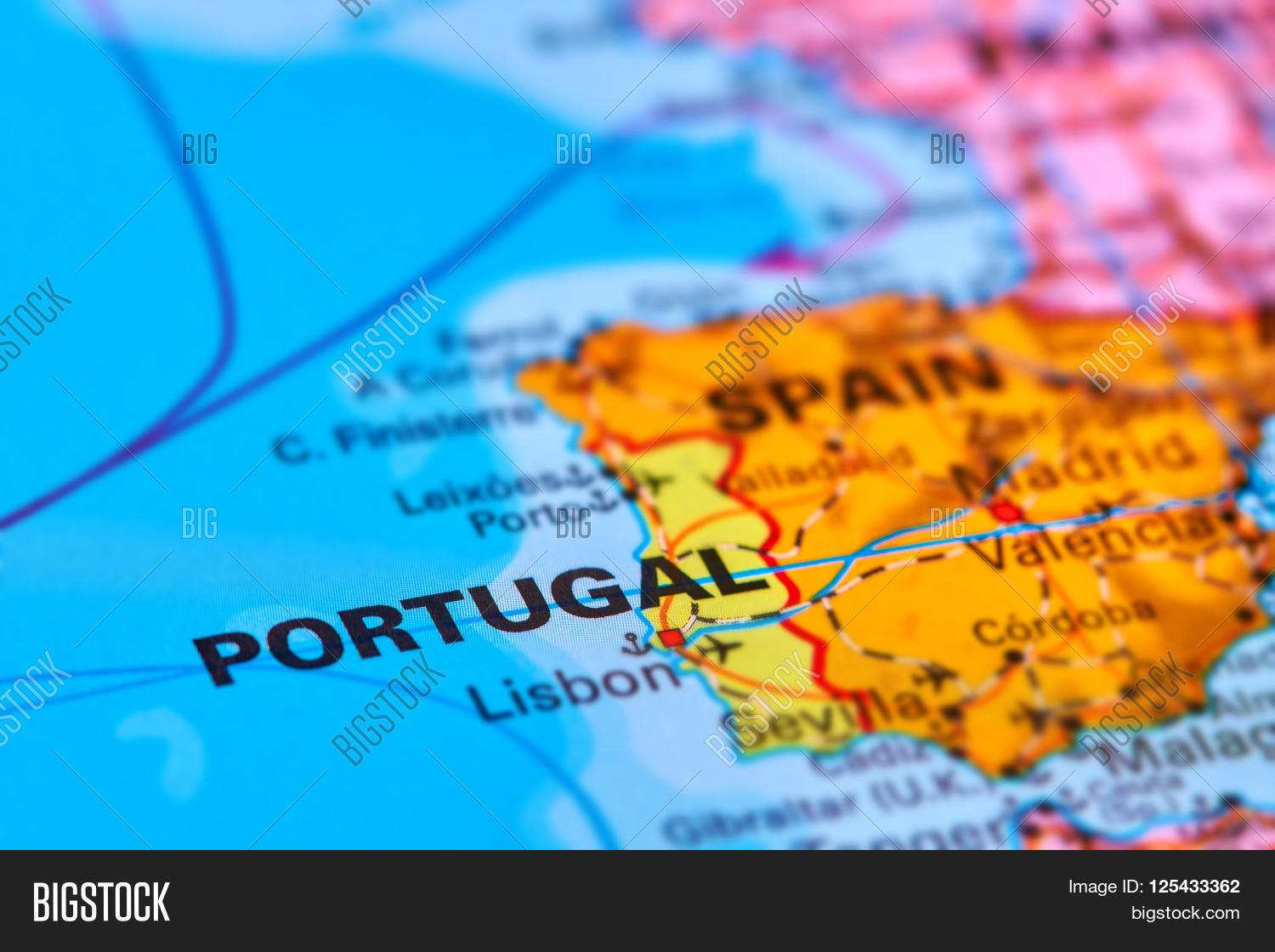 Portugal On Map Image & Photo (Free Trial) | Bigstock