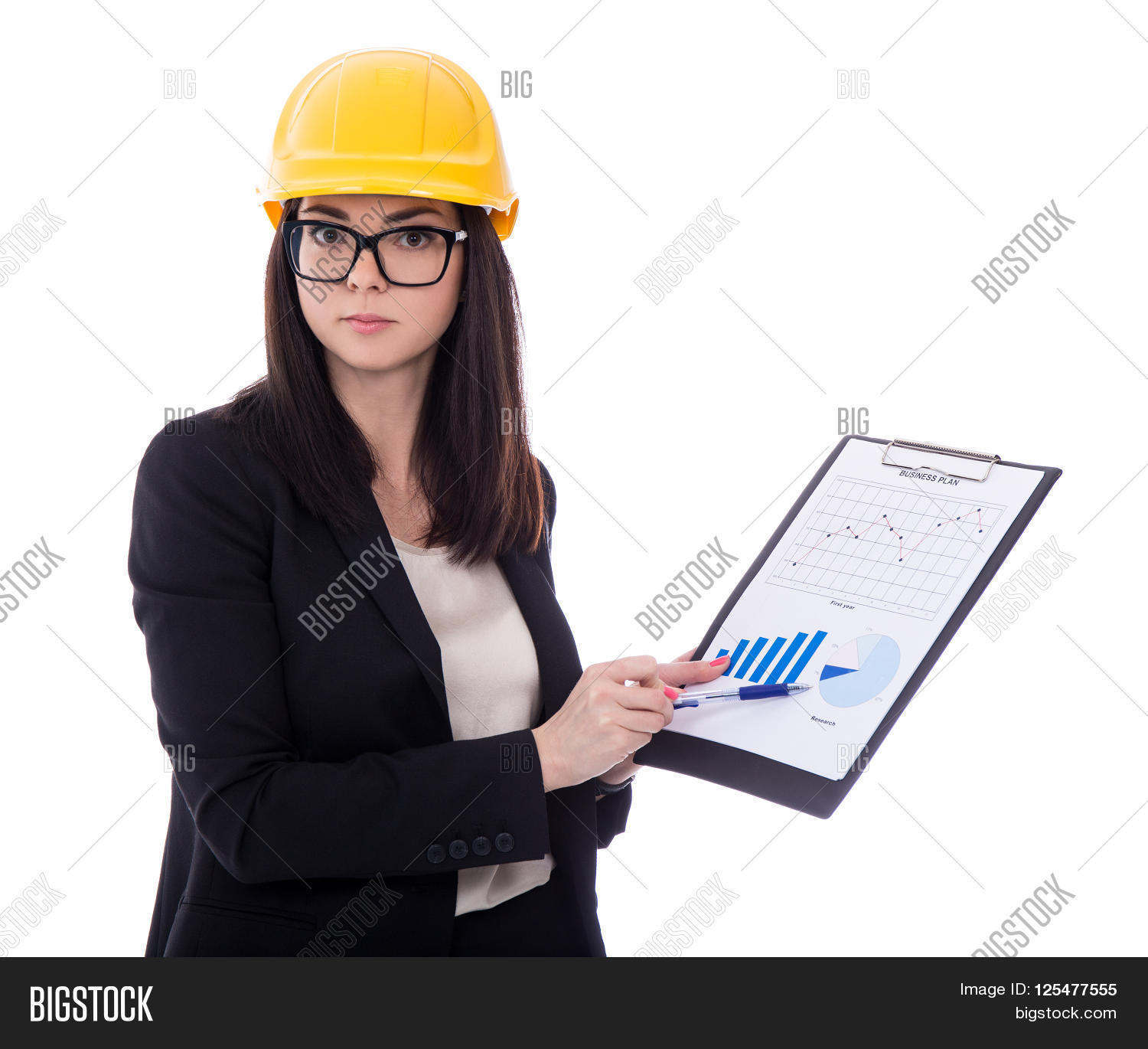493c7882b95 Business Woman Architect In Yellow Helmet Holding Clipboard With Business  Plan Isolated On White