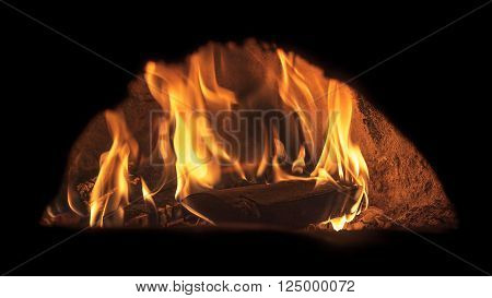 Image of pizza oven with fire long exposure