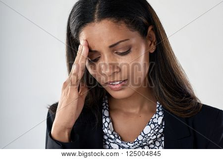 Young business woman tired stressful suffering from bad headache and fatigue