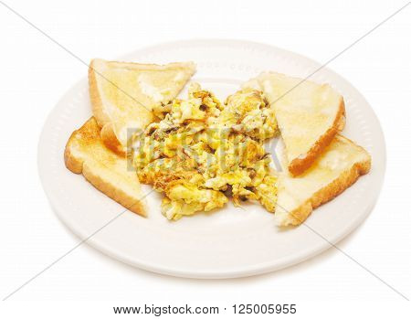 Breakfast of Scrambled Eggs with Mushrooms & Onions