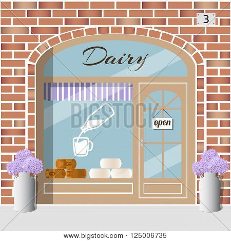 Dairy Products Shop building. Milk products store. Bottle with milk sticker on the window. White and yellow cheese wheels. Red brick facade. Vector illustration EPS 10.