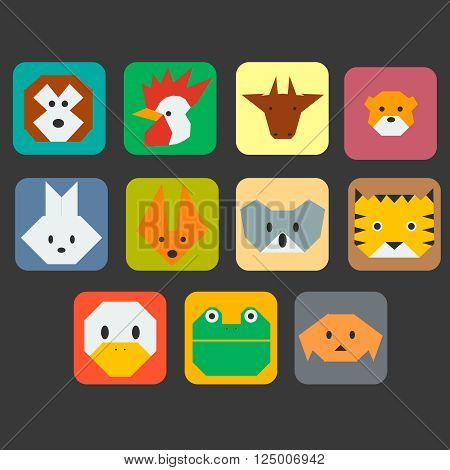Cute animals faces simple icon vector set