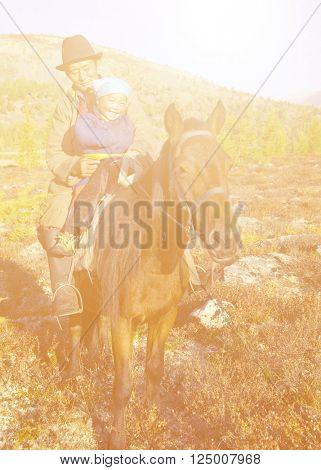 Mongolian Tsataan on Horse Natural Concept