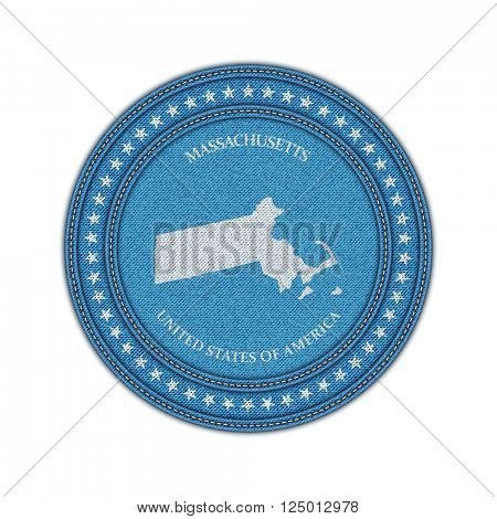 Label with map of massachussetts. Denim style. Vector eps 10